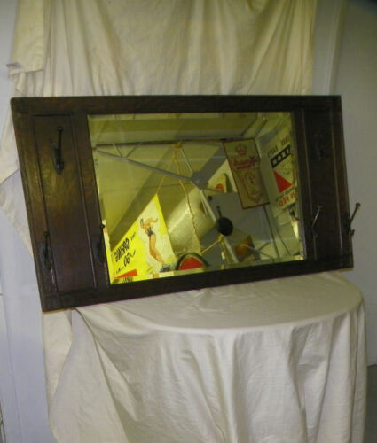 Antique Mission Oak Mirror with Coat and Hat Hooks Wall Mount Arts & Crafts