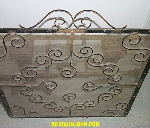 Antique Hand Hammered Andirons and Fire Screen - Arts & Crafts Style