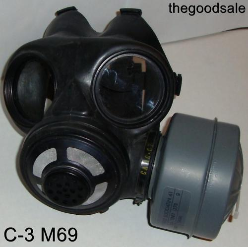 Canadian C-3 M69 Gas Mask & One 40mm SEALED NBC Canister Size Small exp 2023Masks - 70985