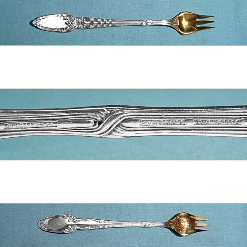 TIFFANY & CO STERLING COCKTAIL FORK(S) (M) ~ BROOM CORN ~ MONO REMOVED
