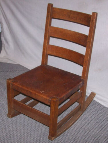 Antique Mission Oak Sewing Rocking Chair -Gustav Stickley