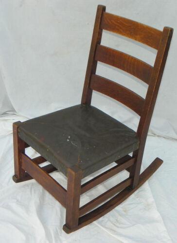 Antique Mission Oak Rocking Chair – Gustav Stickley Rocker Arts and Crafts