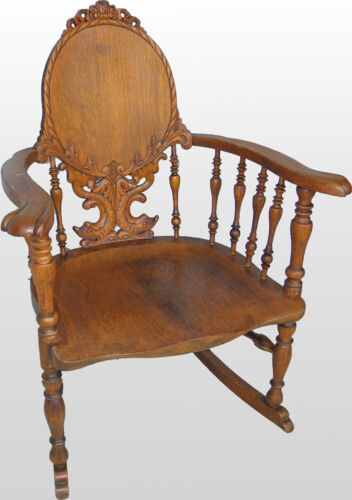 Fancy Victorian Antique Carved Oak Rocking Chair Rocker