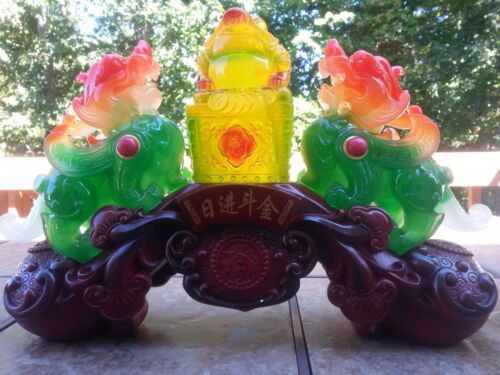 """19""""L Chinese Dragon PiXiu With Money Frog statue."""