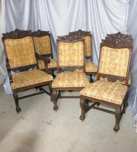 Antique Set of Six Antique matching Formal Oak Dining Chairs
