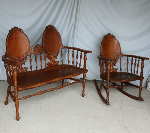 Antique Victorian Carved Oak Set – Bench with matching Rocking Chair