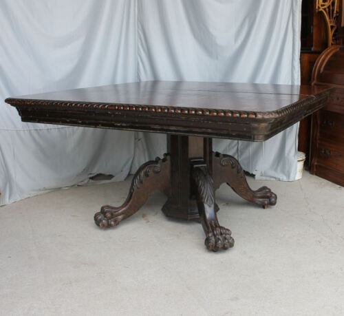 """Antique 54"""" Square Oak Dining Table – 6 Original leaves - Claw Feet Base"""