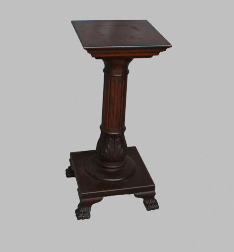 Antique Carved Oak claw foot Pedestal or Plant Stand – original finish