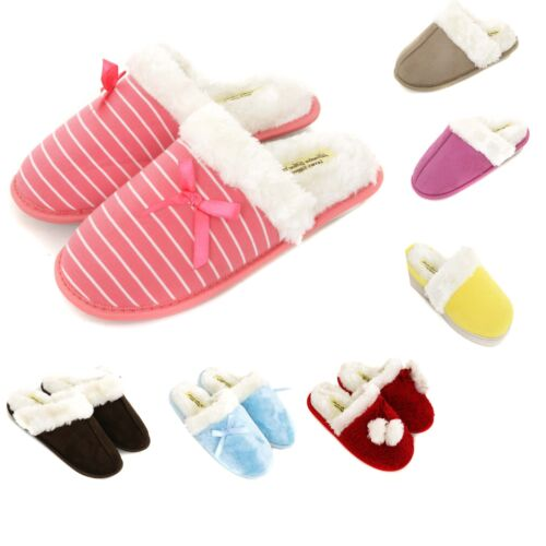 Ladies Premium Slip On Warm Winter  Slippers Size 3 to 8 UK - GREAT XMAS GIFT <br/> MACHINE WASHABLE WITH A SOFT STRONG FLEXIBLE SOLE