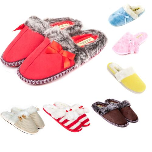 Ladies Slip On Luxury Slippers Size 3 to 8 UK - WARM FAUX FUR LINED MULES <br/> MACHINE WASHABLE WITH SOFT STRONG FLEXIBLE SOLE