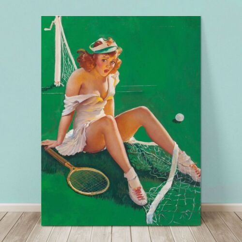 "VINTAGE Pin-up Girl CANVAS PRINT Gil Elvgren  24x16"" Net Results Tennis Player"