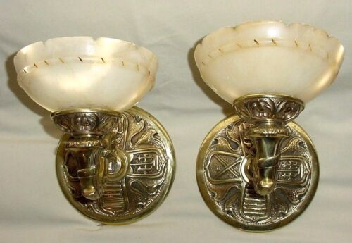 ANTIQ VICTORIAN BIRDS COAT OF ARMS PAIR BRONZE WALL SCONCES ALABASTER SHADES