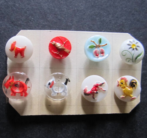 FAB VINTAGE GLASS PICTURE BUTTON LOT SCOTTY DOGS ~ BIRD~ FRUIT ~ CHICKEN ~8