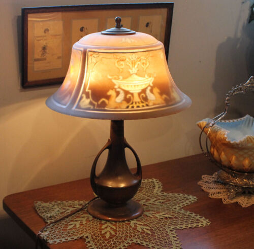 Antique Pairpoint reverse painted Shade Electric Table Lamp