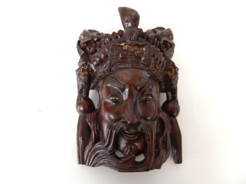 "10.5"" Vintage Asian Chinese Emperor & Dragons Hand Carved Wood Mask Rose wood #4"