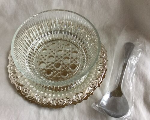 Vintage Queen Anne Silver Plated Jam Dish On Tray With Glass Bowl England