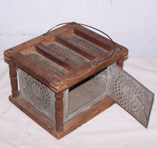 Tin & Wood Antique Foot Warmer