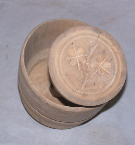 Antique Wooden Butter Mold with Flower Impression