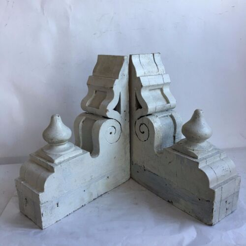 Antique Pair(2) 1890's Wood Corbels Brackets Victorian Gingerbread White Chic A7