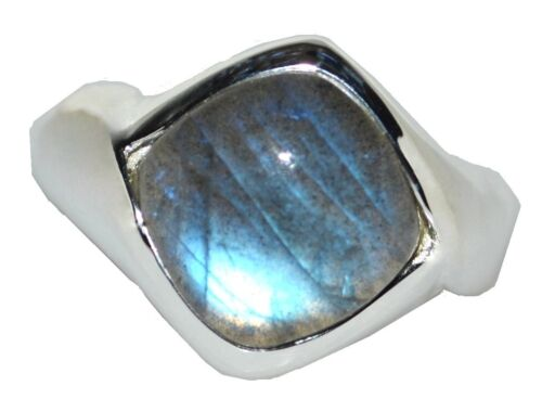 925 Sterling SILVER Shiny Labradorite Mens Ring; Authentic Gems Gents Jewellery