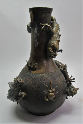 Huge MUSEUM-QUALITY 18th C. CHINESE Bronze Vase w/ Dragons c. 1780  antique