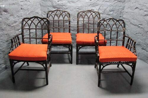 Fine Set of 4 SIGNED McGUIRE Rattan & Leather Chairs w/ Cushions in Exc Cdn