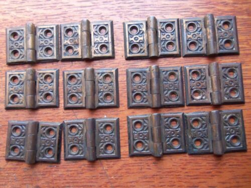 "Twelve Antique Fancy Victorian Cupboard Door Hinges ""Windsor"" 1885 Reading"