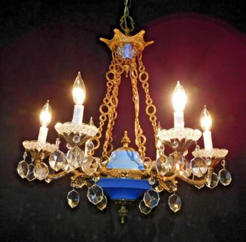 Stately Antique 6 Lite Royal Blue Empire Brass Crystal French Chandelier