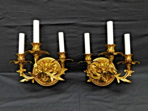 PAIR Incredibly Rare Art Nouveau Lion's Face French Wall Sconces Brass or Bronze