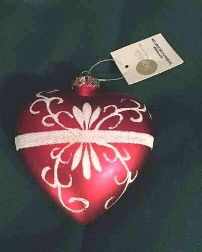 """Red White Heart Ornament Sage & Co. 3.5"""" Christmas Wedding Valentine Love"""