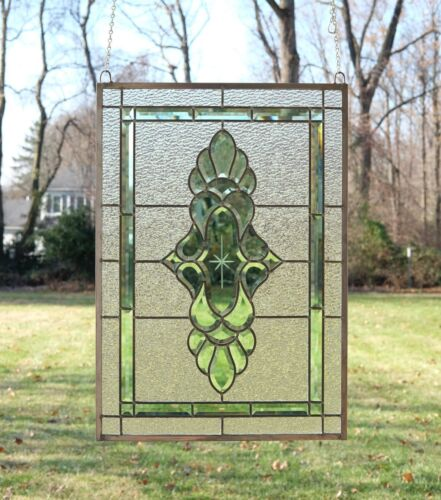 """Stained glass green transparent Clear Beveled window panel 19"""" x 27"""""""