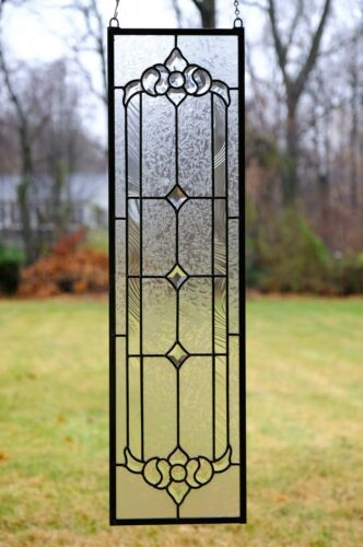 """10"""" x 36"""" Stunning Tiffany Style stained glass Clear Beveled window panel"""