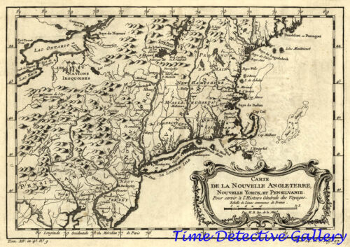 Colonial Map, New York, Pennsylvania & Environs - 1757 - Poster in 5 Sizes