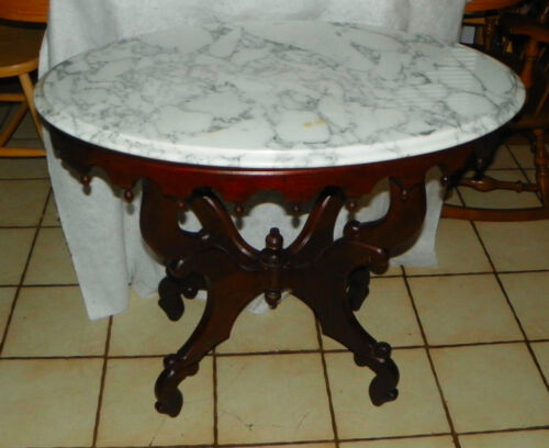 Mahogany Marble Top Center Table / Lamp Table by Victorian