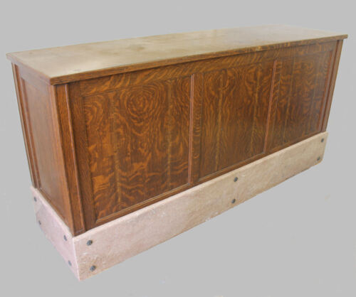 Antique Oak Country Store Counter with Brown marble base -  7 feet long Drawers
