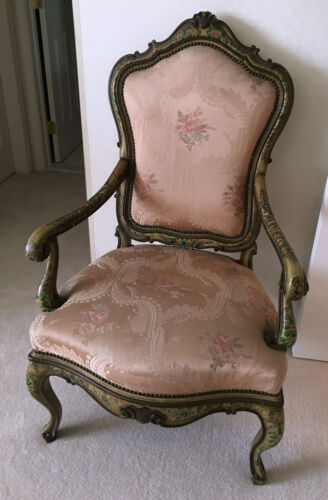 Hand Painted Venetian  Carved Wood Arm Chair with Silk Damask