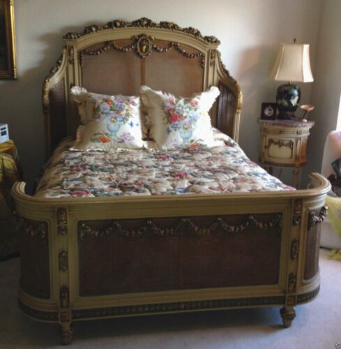 Massive Antique Hand Carved Wood Barbola and Cane Bedroom Suite