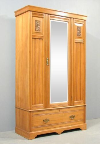 Antique Satinwood Tree Life Armoire Entry Closet Mirror