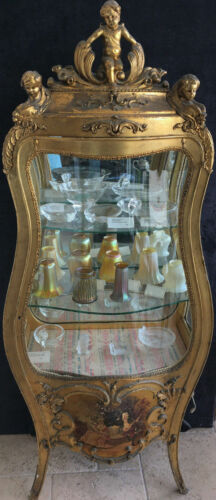 French Style 19th Century Gilt Wood Vitrine Cabinet Painting on Bottom