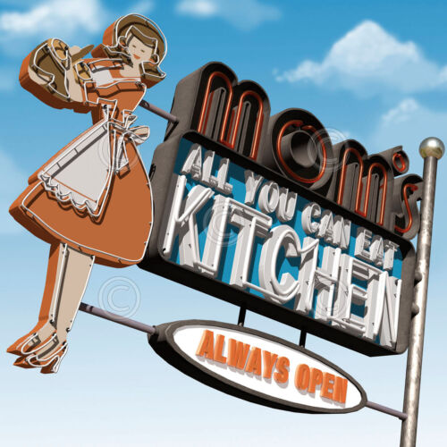 Mom's All-You-Can-Eat Kitchen by Anthony Ross Art Print Retro Diner Poster 32x32