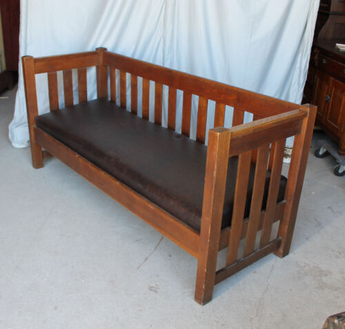 Antique Mission Oak Arts and Crafts even arm settle Couch Sofa
