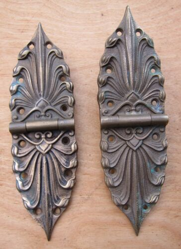 "2 RARE ANTIQUE DOOR/CABINET HINGES . 7"" LONG"
