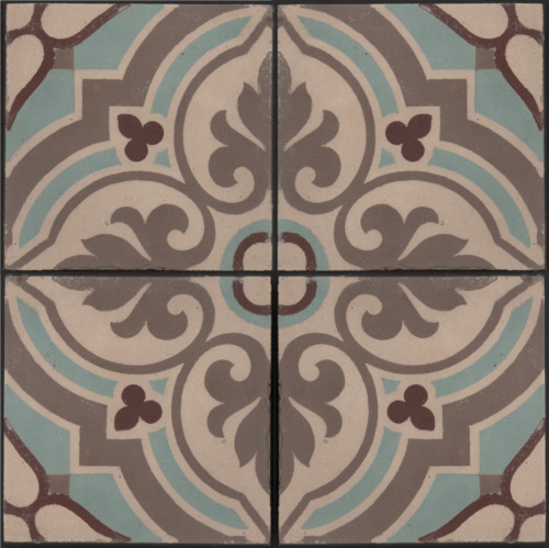 French period entrance hall floor fireplace hearth 4 encaustic tile set Boch Fr.