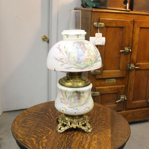 Antique Bradley and Hubbard Signed Oil Lamp