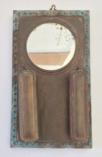 Antique Brass Grooming Mirror with Brushes
