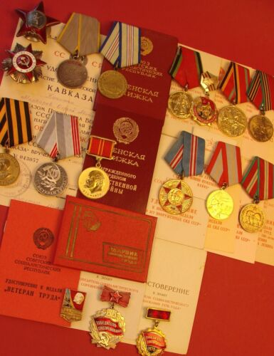 Soviet Russian WW2 Order of Red Star GROUP of 18 Medals & Badges +17 Doc-s MajorMedals, Pins & Ribbons - 104024
