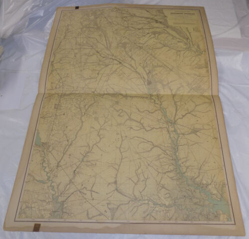 """1888 Topographical Map of New Jersey/SOUTHERN INTERIOR/CUMBERLAND/27x36""""/SCARCE"""