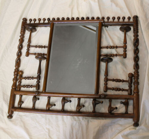 Antique Stick and Ball Wall Mount Hat Rack with Mirror