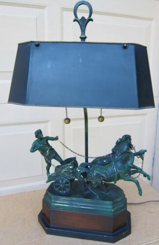 UNIQUE Lg VINTAGE METAL LAMP: HORSES CART & RIDER. METAL SHADE.
