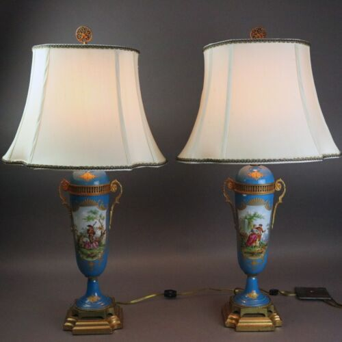 Antique Pair of French Serves School Porcelain Table Lamps